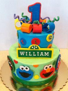 One sesame - 9 & 6 inch Fondant accents Sesame Street Birthday Cakes, Sesame Street Cake, Boys First Birthday Cake, Elmo Birthday, Birthday Ideas, Cupcake Cakes, Cupcakes, Cupcake Ideas, Fiesta Cake