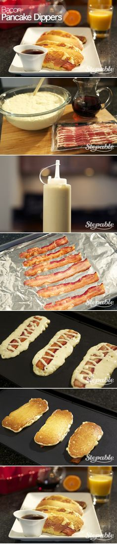 Bacon Pancake Dippers @stepable #recipes. This is so cool! Rex is going to love it!