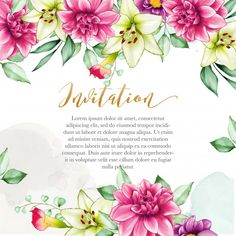 Beautiful and cute floral invitation with watercolor flowers Premium Vector Wedding Invitation Card Template, Wedding Card Templates, Wedding Card Design, Watercolor Wedding Invitations, Floral Invitation, Watercolor Cards, Watercolor Flowers, Wedding Cards, Rose Frame