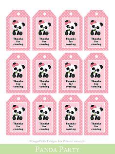 Panda Favor Tags, Thank You Tag, Loot Bag Tag, Panda Birthday Printable, Panda Party Decoration - - Panda Party Favors, Panda Themed Party, Panda Birthday Party, Baby Birthday, Cheap Rustic Decor, Cheap Wall Decor, Home Decor Quotes, Home Decor Signs, Panda Decorations