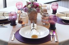 Rustic Purple Fall Wedding Tablescape   Collaborations by Beau-coup