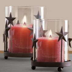 "Heritage Star Hurricane Hurricane Set Holds 3"" pillar candles. (Candles not included). Use also for potpourri or to display ornaments. Set of 2. Includes Large: 5 1/2 dia. x 6""h and Small: 4 1/2 dia. x 5""h."