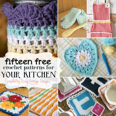 15 Free Kitchen Crochet Patterns by Daisy Cottage Designs Crochet Kitchen, Crochet Home, Crochet Gifts, Crochet Yarn, Loom Knitting, Knitting Patterns, Crochet Patterns, Crochet Round, Love Crochet