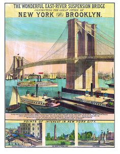 """Brooklyn suspension bridge from docks at Brooklyn side includes 3 """"Points interest in Manhattan 1873. NY0033 Vintage Reproduction Poster"""