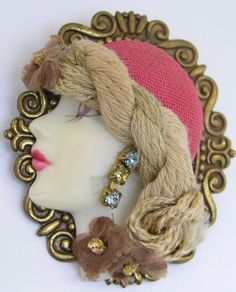 Vintage Lady Face Head Porcelain Rhinestone Brooch Pin Flapper #Unbranded