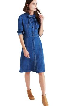 12 Spring Dresses You'd Be Happy to Shed Your Puffer Coat For Let's bring some spring into your winter wardrobe! Here's your winter style inspiration.  Denim Tie-Neck Shirt Dress, $138;madewell.com.