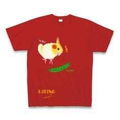 LUTINO オカメインコ ルチノーとスナップエンドウ Tシャツ Pure Color Print(レッド)