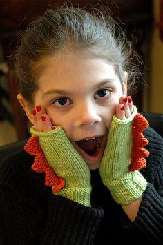 Dinosaur Mittens (in 5 sizes) knitting pattern