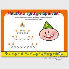 Pisteestä pisteeseen kortti, jossa ratkaisuna syntymäpäiväkakku!
