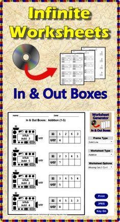 Infinite Worksheets: In and Out Boxes is software which allows you to browse a catalog of 50 addition, subtraction, multiplication, division and algebra in/out worksheets, customize the title and borders, and print both student copies and answer sheets. Worksheets can be saved as JPEG files to be displayed on SmartBoards or incorporated into lessons for resale. All worksheets are randomized so every time one is selected all the problems will be different. Print in under 2 minutes! (PC & Mac) ($)