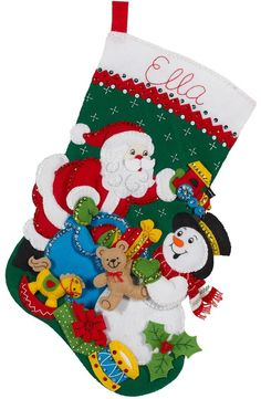 Santa and Snowman Bucilla Christmas Stocking Kit