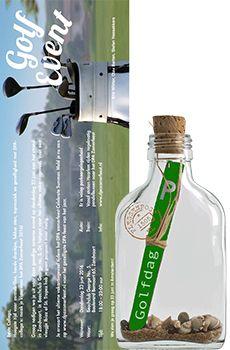 Flessenpost - voorbeelden van uitnodigingen voor golftoernooi of golfdag #originele #uitnodiging #uitnodigingen #personaliseren #zakelijk #personeelsfeest #event #evenement #golf #golfdag  #golftoernooi