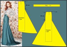 Pattern making - beautiful maxi skirtPattern instructions for a mermaid skirt.Discover thousands of images about Mermaid Dress Patternr/sewing - I found these ideas interestingStraight skirt with tail Techniques Couture, Sewing Techniques, Pattern Cutting, Pattern Making, Dress Sewing Patterns, Clothing Patterns, Fashion Sewing, Diy Fashion, Sewing Hacks