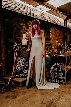 Alternative Rock Wedding Inspiration With Tattooed Bride and Bespoke Wedding Dress - with flower crown, bride with pink hair, silver wedding dress, blackboards and signs