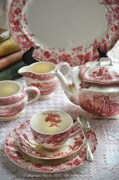 Red transferware, pretty