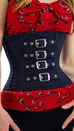 CS-331 Denim and Buckles Underbust Corset.  Genuine Underbust Corset is made for serious lacing, shaping and waist-training.  Front authentic steel boning and busk provide unmatched support and strength to this corset.