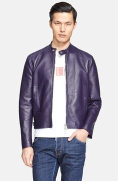 Dsquared2+Lamb+Leather+Moto+Jacket+available+at+#Nordstrom
