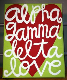 FOR SALE: Hand Painted Alpha Gamma Delta Sorority Canvas by CraftsByCarlie, $18.00