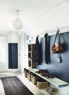 for the entry way...Small chalk board area with storage, hooks, shelves - multi-functional wall.
