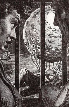 "Virgil Finlay Art | Virgil Finlay's illustration to Richard Matheson's story ""Being"" - IF ..."