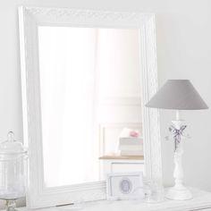 Espejo de madera de paulonia blanco Al. 90 cm VALENTINE