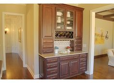 Partial Built-In Dry Bar Cabinet Kitchen Buffet, Buffet Cabinet, Cabinet Ideas, Kitchen Ideas, Kitchen Decor, Built Ins, Cottage Style, Luxury Homes, Kitchen Remodel