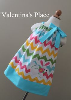 Super Cute Easter Bunny in rainbow Chevron pillowcase dress. $29.00, via Etsy.