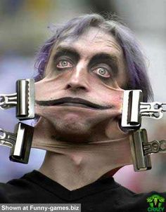 maybe he is channeling stretch armstrong in another life? Now staple closed. ( Cheap way to get that Botox look) Funny People Pictures, Face Pictures, Techno, Creepy, Stretch Armstrong, Horror, What The Heck, Wtf Face, Stupid People