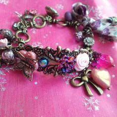 Bracelet romantique bronze fleurs, perles de boheme