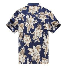 Made in Hawaii Men's Hawaiian Shirt Aloha Shirt Floral Cluster Navy Gold