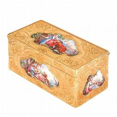 <b>Antique Gold, Portrait Miniature and Enamel Snuff Box</b> <br  /> The gold box with top and 4 side panels of porcelain reserves of figures in 18th century costume depicting courtship and leisure activities, framed by engraved gold scroll and garland motif, bottom composed of blue enamel with black stars framed by engraved gold scroll and garland motif, <i>possibly by Barthélemy Pillieux, maker's mark slight obscured</i>, 3rd quarter of 18th century, approximately 63.6 dwt. 1 7/16 x 2 7/8…