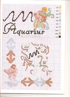 Borduurpatroon Sterrenbeeld Kruissteek *X-Stitch Pattern Zodiac ~Serie 3-2: Waterman 21-01/18-02 *Aquarius~