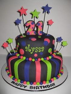 Alyssa\'s 21st Birthday Cake By SusanReis on CakeCentral.com