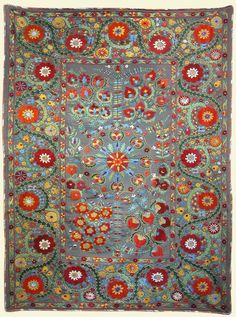 "Suzani ground cloth, hand woven, 64"" x 75"", central Asia, contemporary"