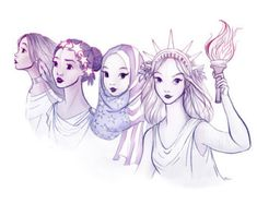 ladies of liberty postcard by Demi Chen. Available here.