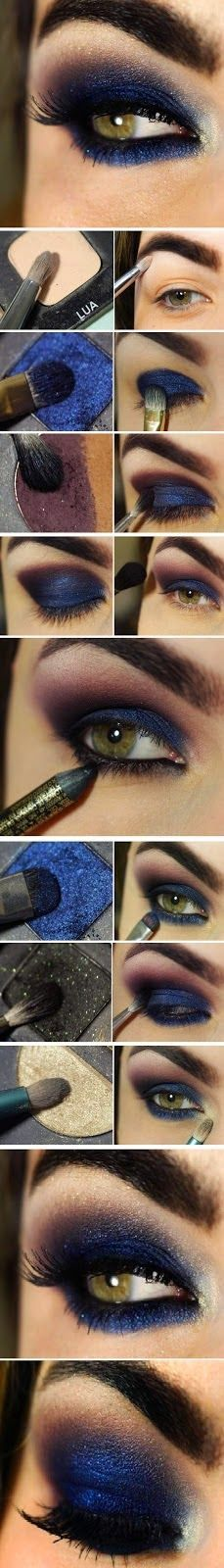 Amazing Step by Step Navy Blue Smokey Eye Makeup Tutorial - Gorgeous!! <3 Lane