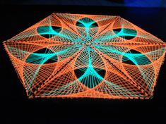 Hexagon lotus string art sacred geometry psychedelic wall