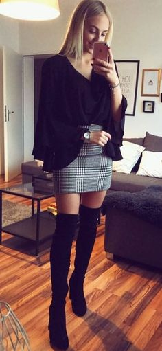 #fall #outfits women's black long-sleeved V-neck top and gray mini skirt
