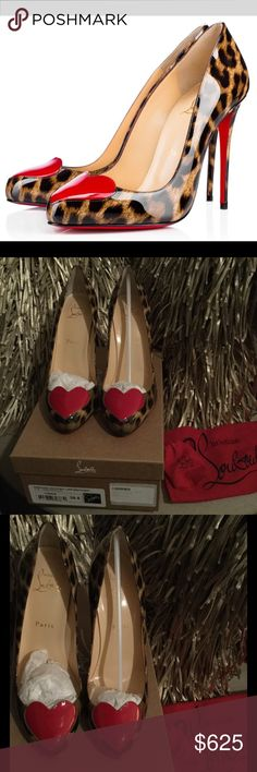 """Christian Louboutin Doracora Leopard Red Heels39.5 Brand new Christian Louboutin Doracora 100 Leopard Red Heart Pumps  Sz 39.5 fits like 8.5 Bought as a collector shoe, ready to share with a fellow Louboutin collector.  Details: Be still, my heart! A pulse-pounding red appliqué adorns the topline of Christian Louboutin's delectably glossy Doracora pump, complete with elegantly curved topline and towering stiletto heel. 4"""" heel.Patent leather upper/calfskin leather lining and sole. Avoid…"""
