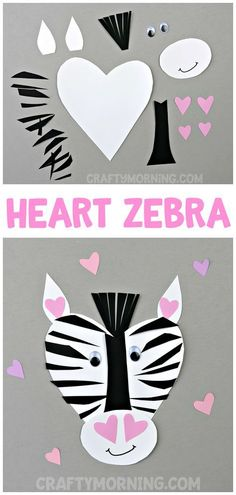 Heart Zebra Valentine Craft for kids to make! This is such a cute heart shape animal art project for Valentine's Day.