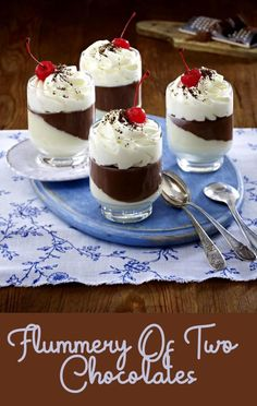 Flummery, Everyday Food, Chocolate Desserts, Yummy Snacks, Whipped Cream, White Chocolate, Cocoa, Panna Cotta, Food And Drink
