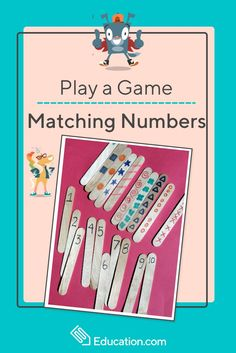 Play a Matching Game: Numbers - Practicing counting and number recognition skills? Use crafts sticks and markers to create this fun learning game. Your child will love matching and counting numbers. Number Games Preschool, Math Games For Kids, Kindergarten Games, Fun Math, Fun Learning Games, Kids Learning, Best Math Apps, Math Websites, Number Recognition