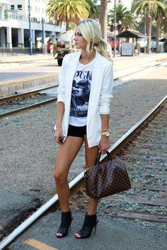 vogue tank + white blazer + black shorts + Louie Vuitton purse + black peep toe booties