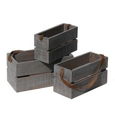 Wrightwood Furniture — Planter Box Large with Leather Strap, Gray with distress