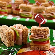 This grab-and-go snack is perfect football party food. Skewer these mini sandwiches ahead of time. super bowl, football party foods, football recipes, beach fun, sandwich, football parties, ideas party, mini, treat