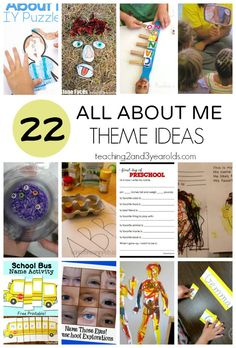 "All About Me Theme – 22 fun activities that help preschoolers get to know each other in the classroom. Includes a free ""This is me!"" self-portrait printable page for your preschoolers. Body Preschool, Preschool Lessons, Preschool Learning, Preschool About Me, Name Activities, Preschool Activities, All About Me Activities For Toddlers, Preschool Curriculum, Preschool Printables"