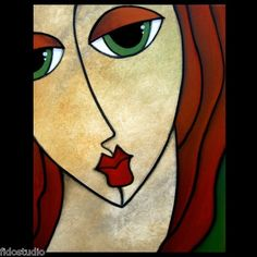Eloquent - Original Abstract Portrait :Large Modern Art Painting by Fidostudio