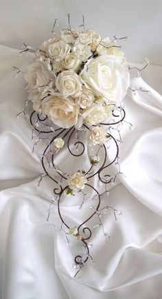 Items similar to Venice bouquet, artificial flower and crystal bridal bouquet on Etsy Brooch Bouquets, Bride Bouquets, Bridesmaid Bouquet, Bridal Flowers, Silk Flowers, Whimsical Wedding, Floral Wedding, Wedding Themes, Wedding Decorations