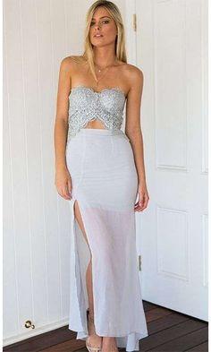 Make Believe Light Grey Strapless Lace Cut Out Side Slit Maxi Dress