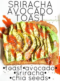 Sriracha Avocado Toast: over-the-top amazing! Vegan Vegetarian, Vegetarian Recipes, Healthy Recipes, Vegan Food, Delicious Recipes, Cooking Recipes, Veggie Recipes, Whole Food Recipes, Salmon Recipes